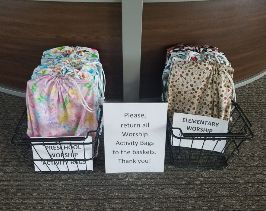 Worship Activity Bags in Main Lobby Outside Sanctuary